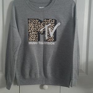 Vintage MTV XS gray long sleeve T-shirt / sweatshi
